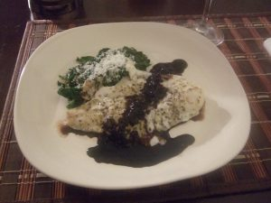 Orange Roughy Florentine with Balsamic Reduction.